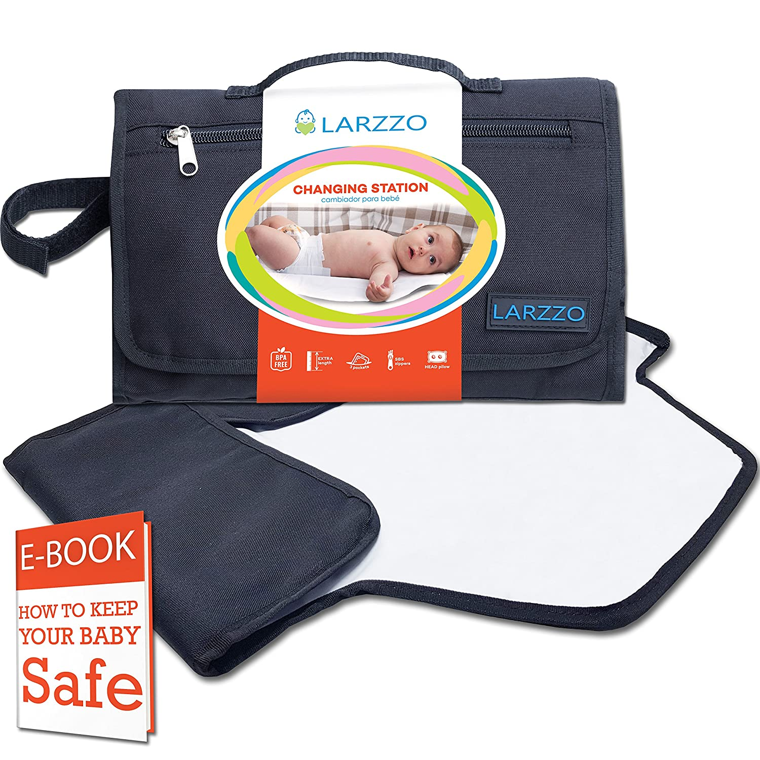 Larzzo Diaper Changing Pad, Portable Changing Station for Baby, Travel Diaper Clutch, On-the-go Diaper Changer LRZ001