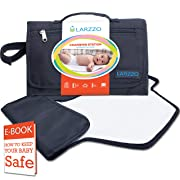 Larzzo Diaper Changing Pad, Portable Changing Station for Baby, Travel Diaper Clutch, On-The-go Diaper Changer with Free e-Book