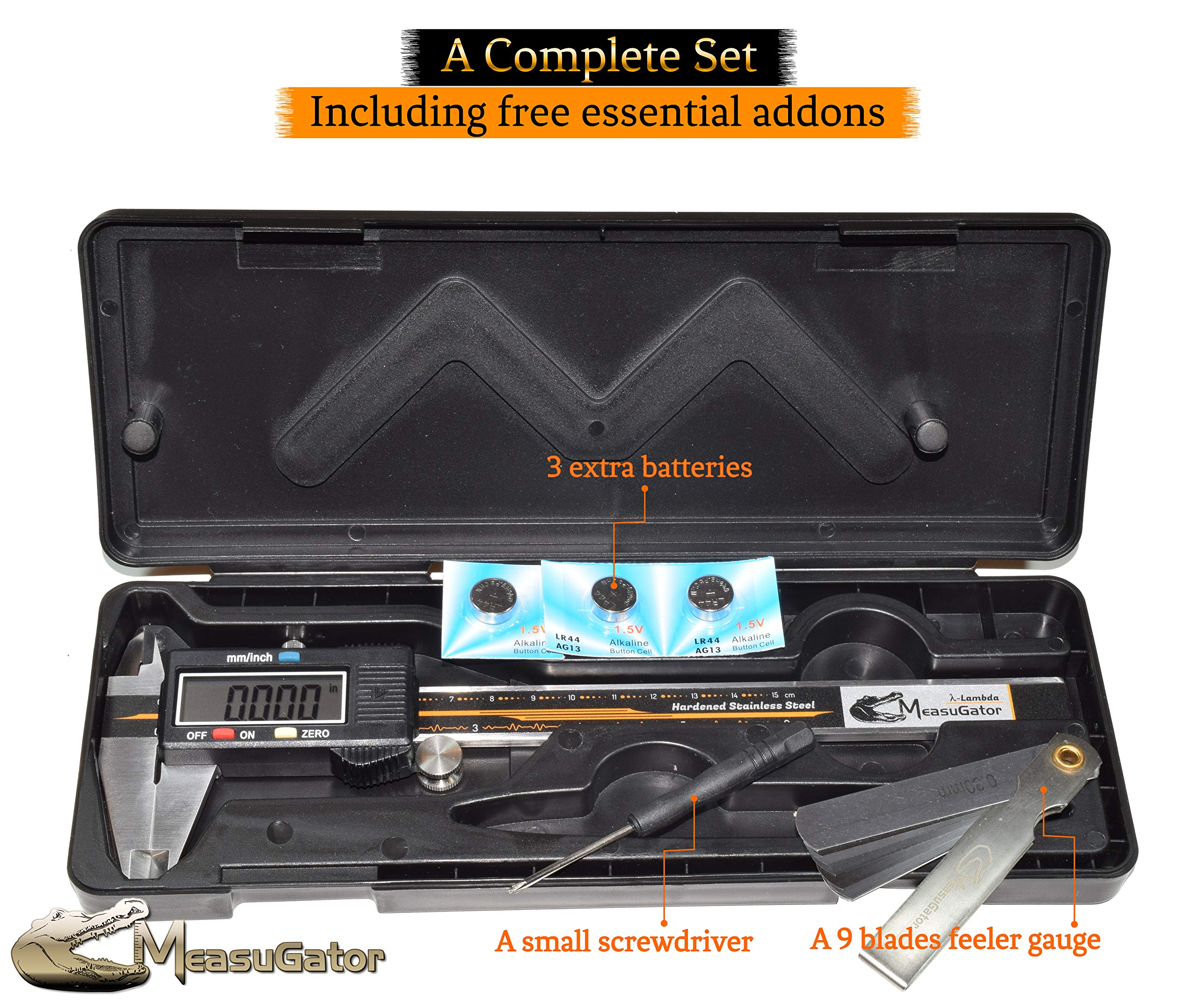 MeasuGator Lambda Digital Caliper, 3 Addons, Verifiable Accuracy, Automatic Off/On, 6 Inch/150 mm Range, SAE/Metric Modes, Premium Quality Stainless Steel Calipers, w/Spare Batteries, Feeler Gauge by MeasuGator (Image #2)
