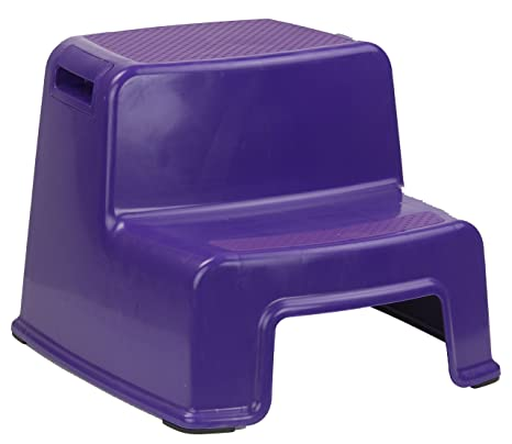 Home Basics 2 Tier Step Stool with Rubber Top (Purple)
