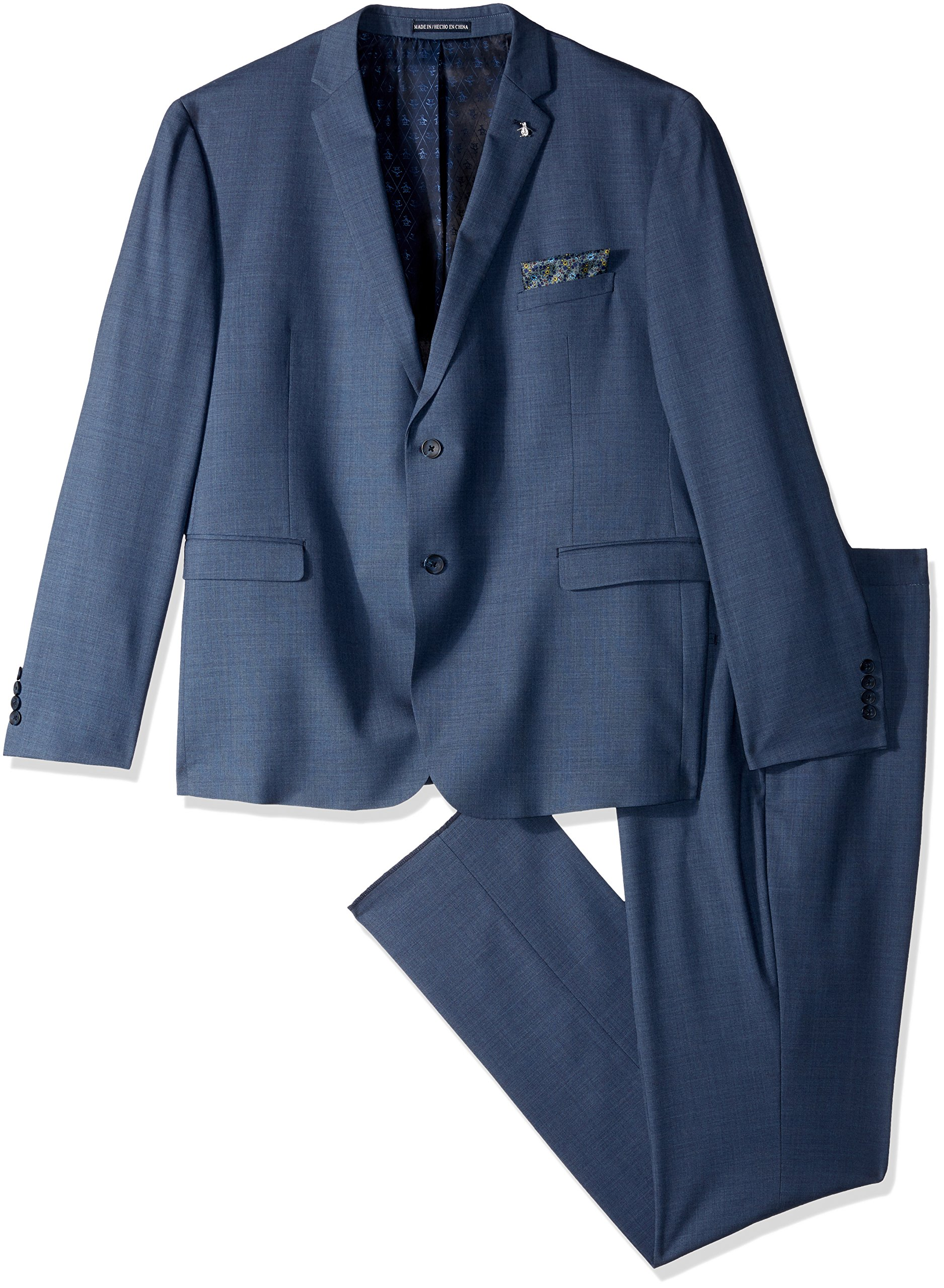 Original Penguin Men's Slim Fit Suit, Blue Sharkskin, 42REG