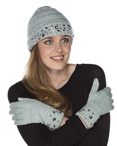 i-smalls Ltd - Set de bufanda, gorro y guantes - para mujer Verde verde menta Talla única
