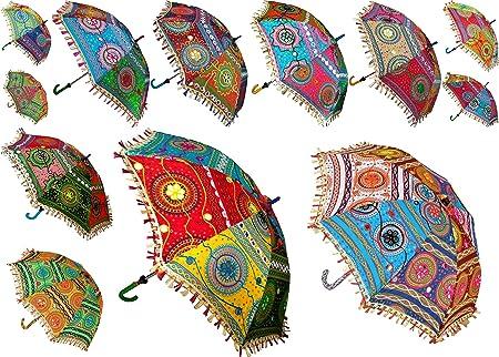 Worldoftextile Sombrilla de Tela de algodón Indio, 7 Piezas, Estilo Vintage, para Boda, decoración al Aire Libre, Bordado a Mano, Paraguas étnico: Amazon.es: Hogar