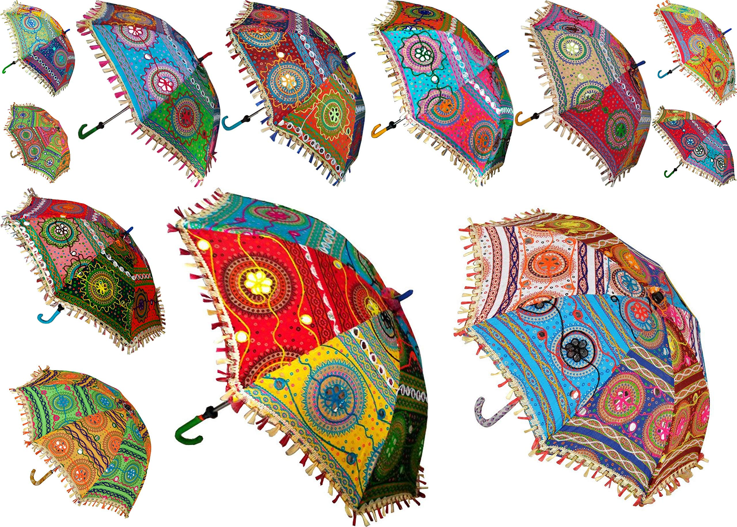 7 Pcs Lot Indian Cotton Fabric Mirror Work Vintage Parasols Wedding Umbrella Outdoor Decorations Handmade Embroidery Ethnic Umbrella Parasol by Worldoftextile