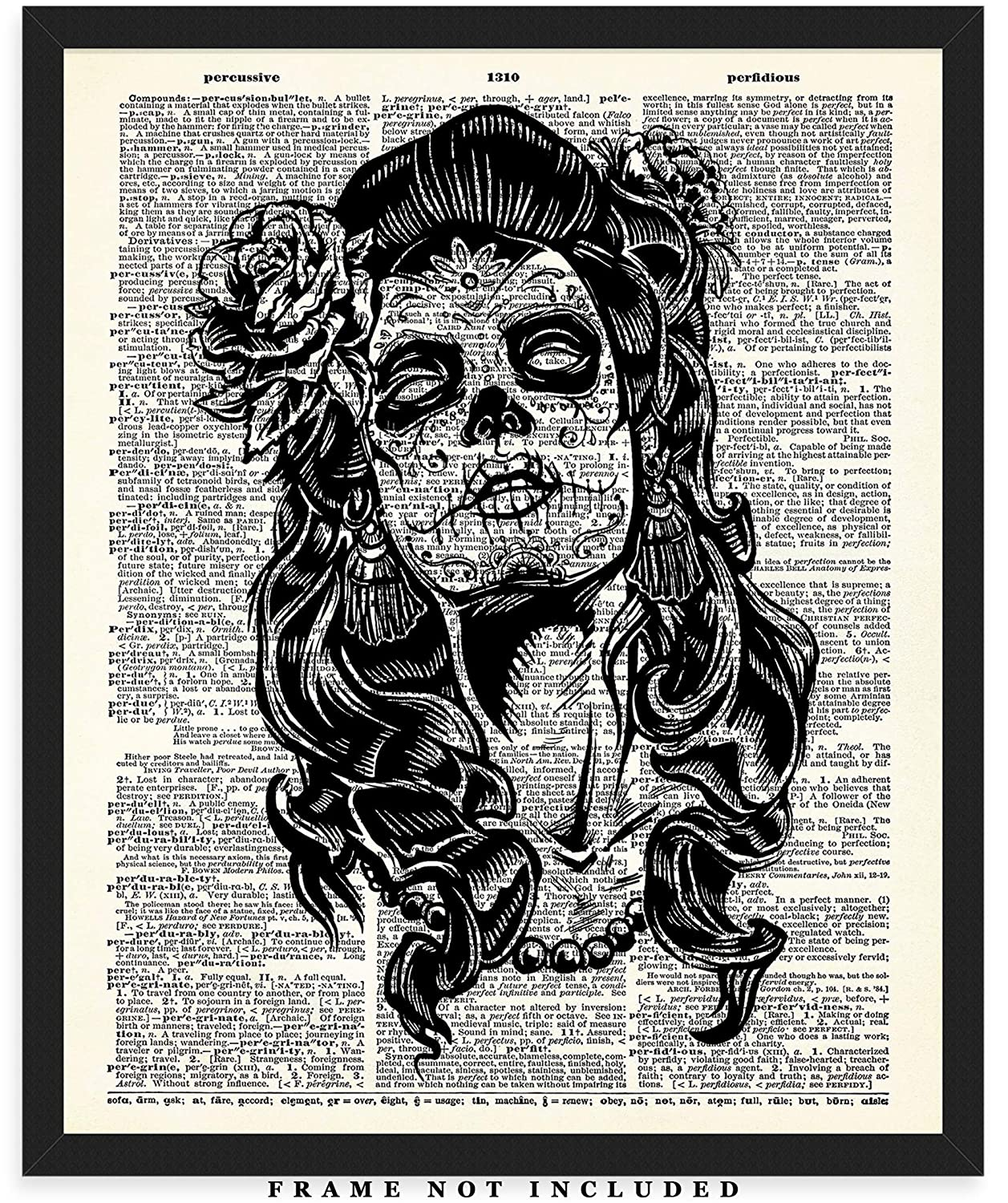 Great Gift Idea Under $15 Girls /& Women - Day of the Dead Sugar Skull Girl Dictionary Wall Art Print: Unique Room Decor for Boys Unframed Picture Men 8x10