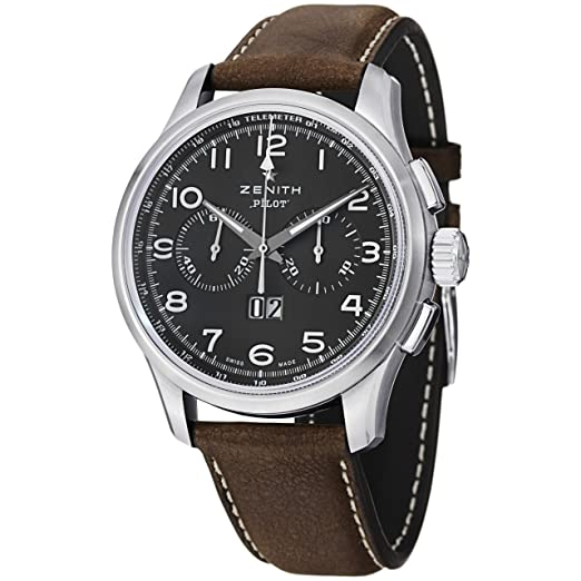 8b5d3d35735 Buy Zenith Men s 0324104010.21C Pilot Analog Display Swiss Automatic Brown  Watch Online at Low Prices in India - Amazon.in