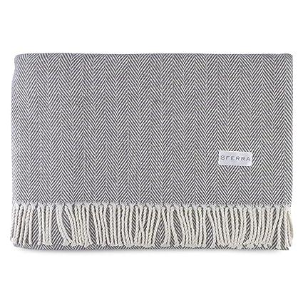Amazon Sferra Celine Herringbone 40% Cotton Throw Blanket Unique Sferra Throw Blanket
