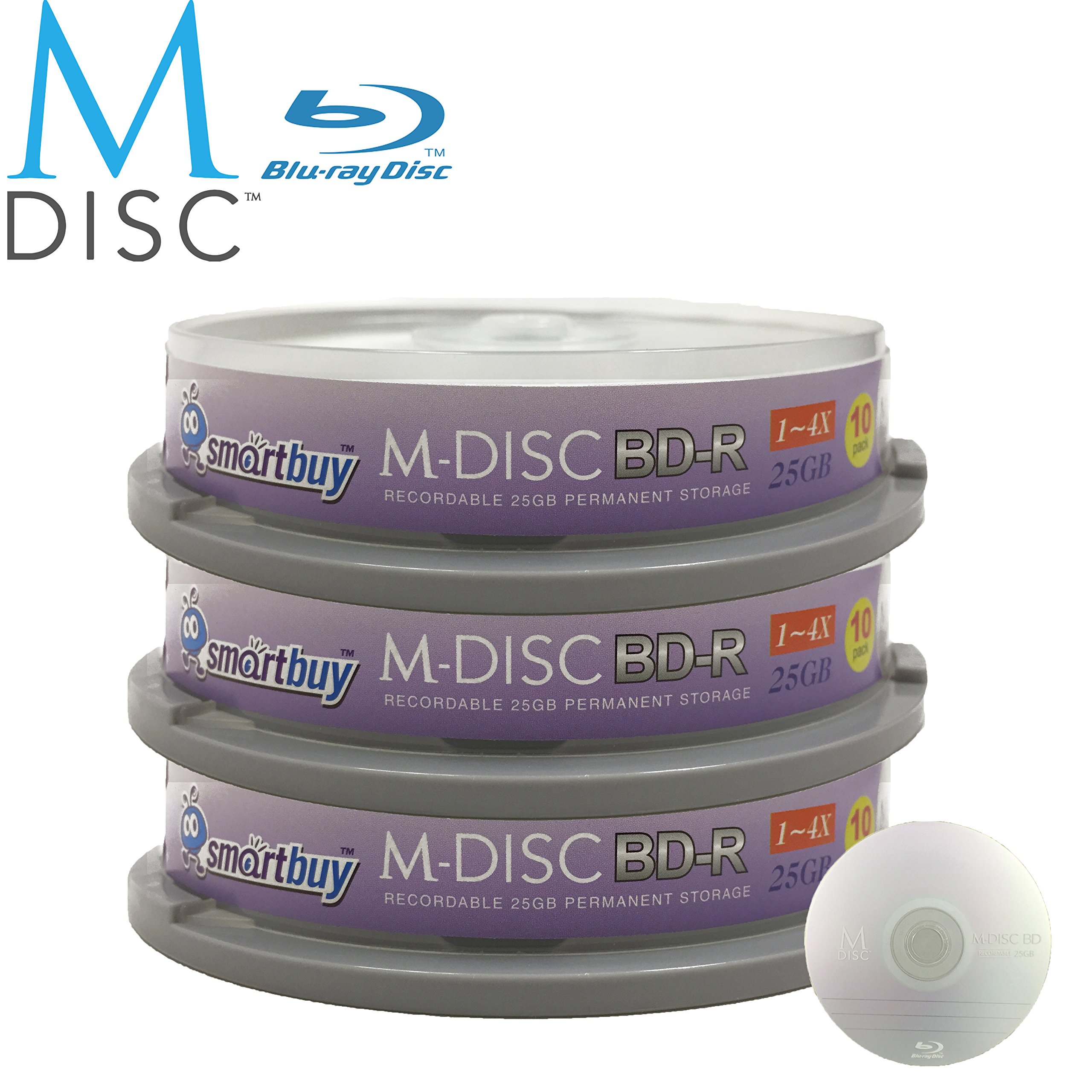 30 Pack Smartbuy M-Disc BD-R 25GB 4X HD 1000 Year Permanent Data Archival / Backup Blank Media Recordable Disc