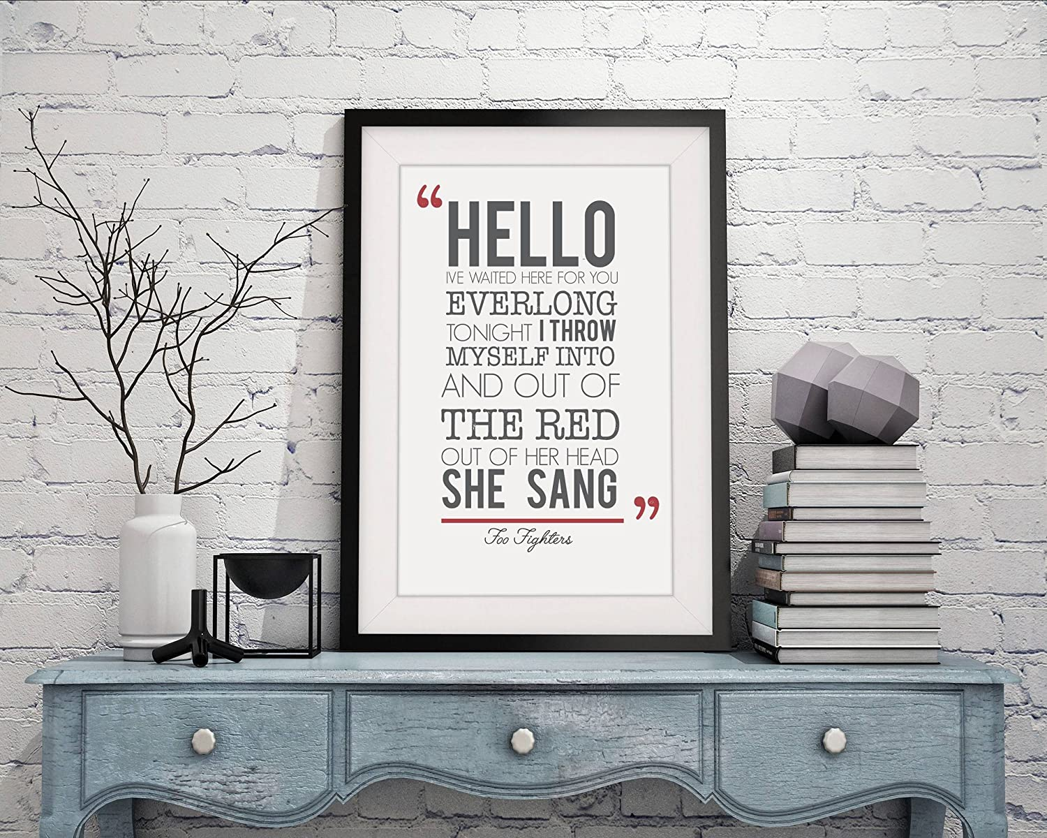 Amazon Foo Fighters Everlong Song Lyrics Framed A4 Print And 12x10 Glazed Frame With Mount Gift Valentines Day Christmas Anniversary Wedding First