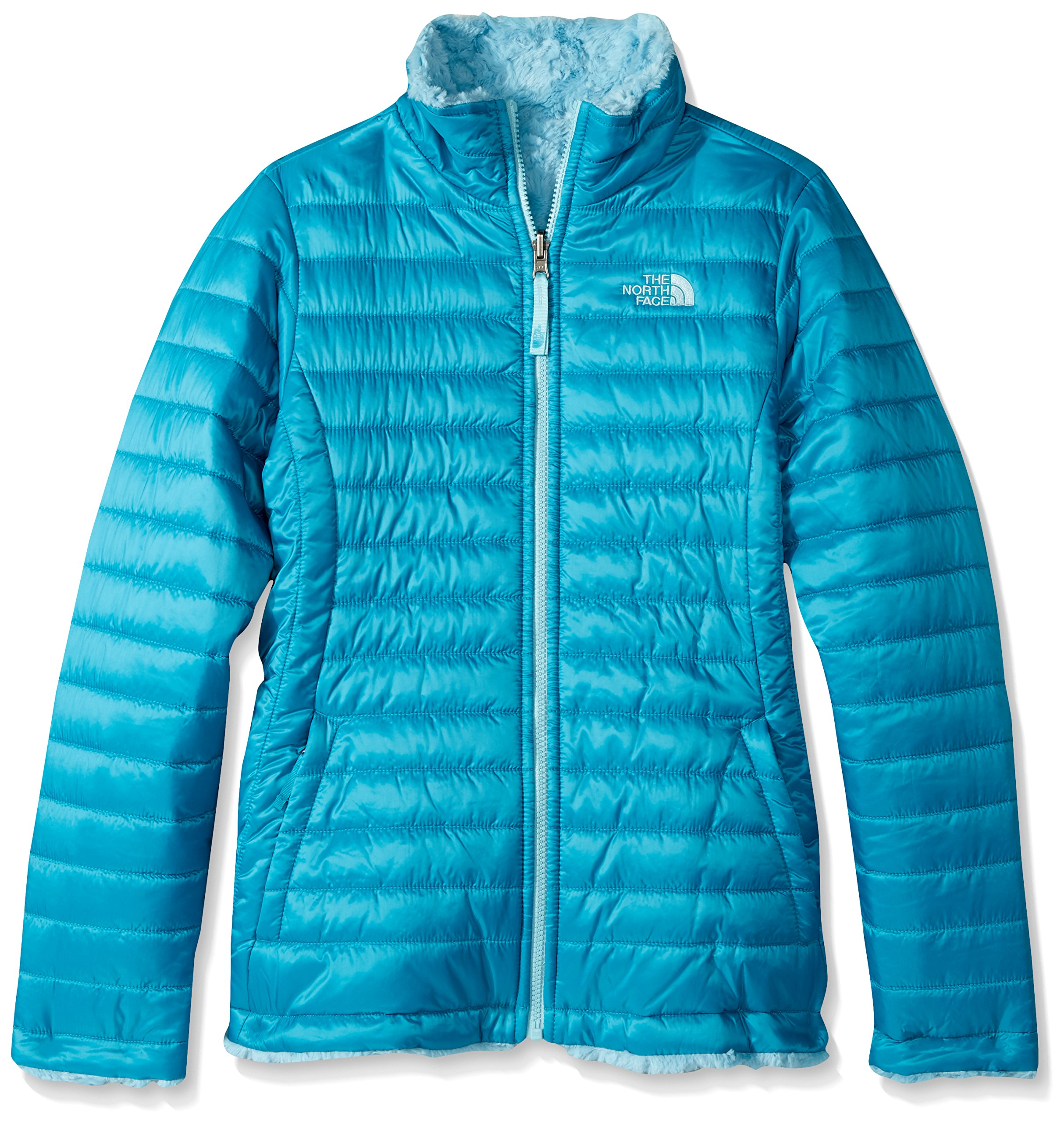 The North Face Girl's Reversible Mossbud Swirl Jacket - Algiers Blue - XL (Past Season)