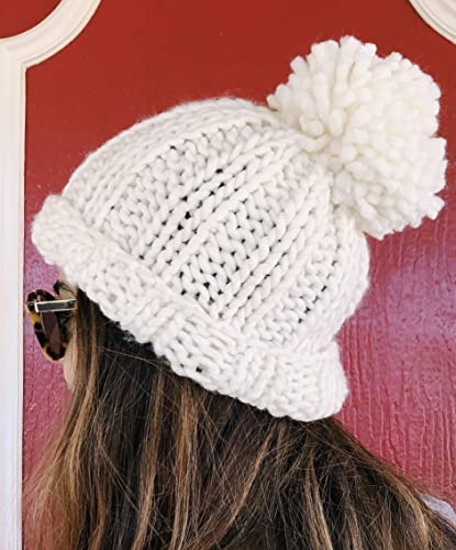 7d137f3343f425 Amazon.com: Womens White Chunky Beanie Hat Handmade with Giant Pom Pom:  Handmade