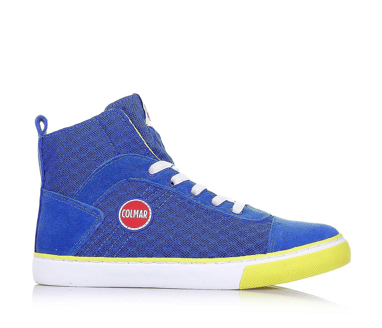 COLMAR - Sneaker stringata verde e blu, in tessuto e camoscio, con chiusura a zip laterale, logo sulla linguetta, Bambino, Ragazzo-39