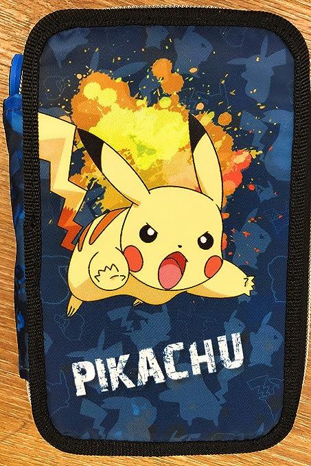 Estuche escolar Pokemon 3 cremalleras completo Pikachu: Amazon.es: Oficina y papelería