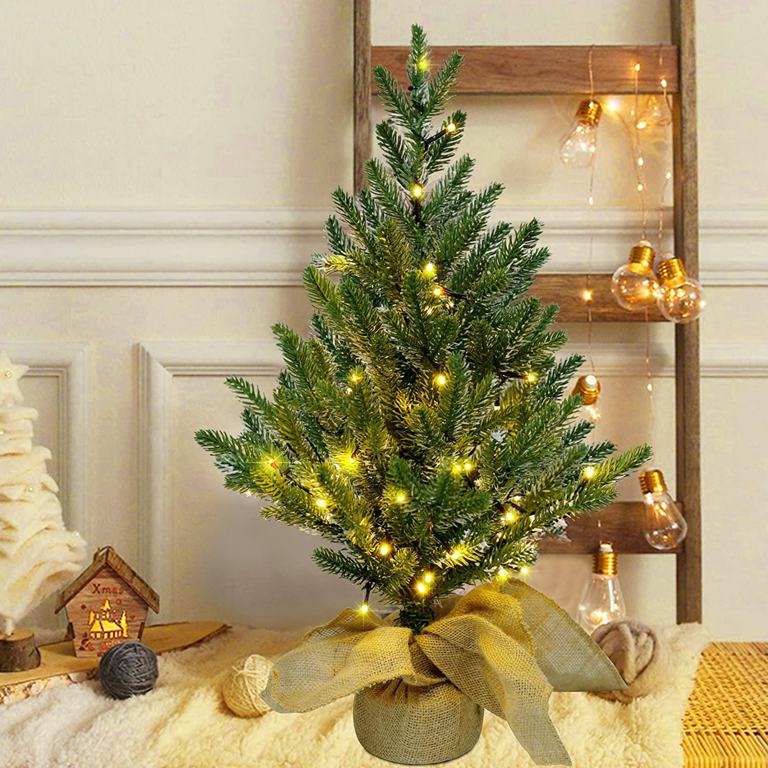 Juegoal 24Inch Pre-lit Christmas Pine Tree, with 50 Warm White Fairy Lights Tabletop Artificial Tree, Small Light up Pine Tree with Burlap Wooden Base for Xmas, Spring Home Decorations