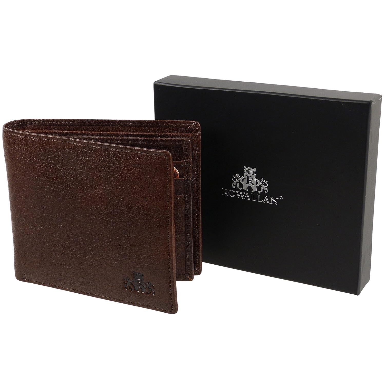 Mens Gents Super Soft Luxury Rowallan Flip Up Wallet Purse Black Brown Tan