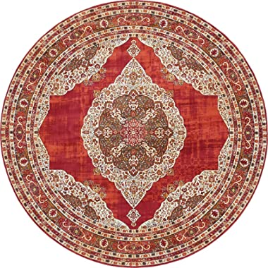 A2Z Rug Red 8' 4 x 8' 4 Feet Round St. Tropez Collection Traditional and Modern Area Rugs and Carpet