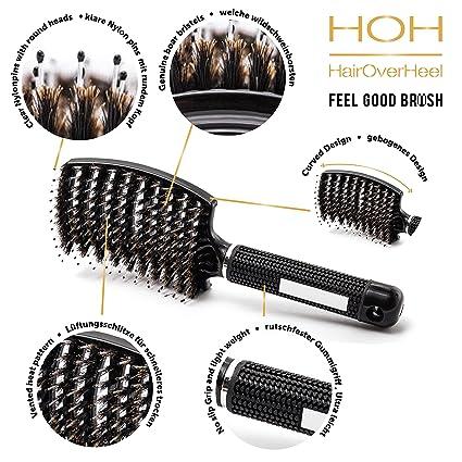 Cepillo desenredador de cerdas de jabalí - curvado y perforado para mujeres con pelo largo, grueso, fino, rizado y con enredos Cepillo de ventilación: ...