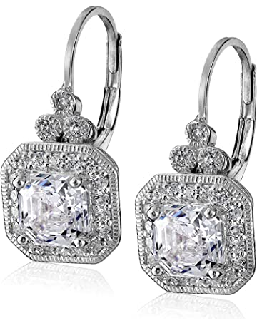 d1b41374f Platinum or Gold-Plated Sterling Silver Swarovski Zirconia Asscher-Cut  Antique Drop Earrings