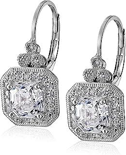 55a680964c3d Platinum or Gold-Plated Sterling Silver Swarovski Zirconia Asscher-Cut  Antique Drop Earrings