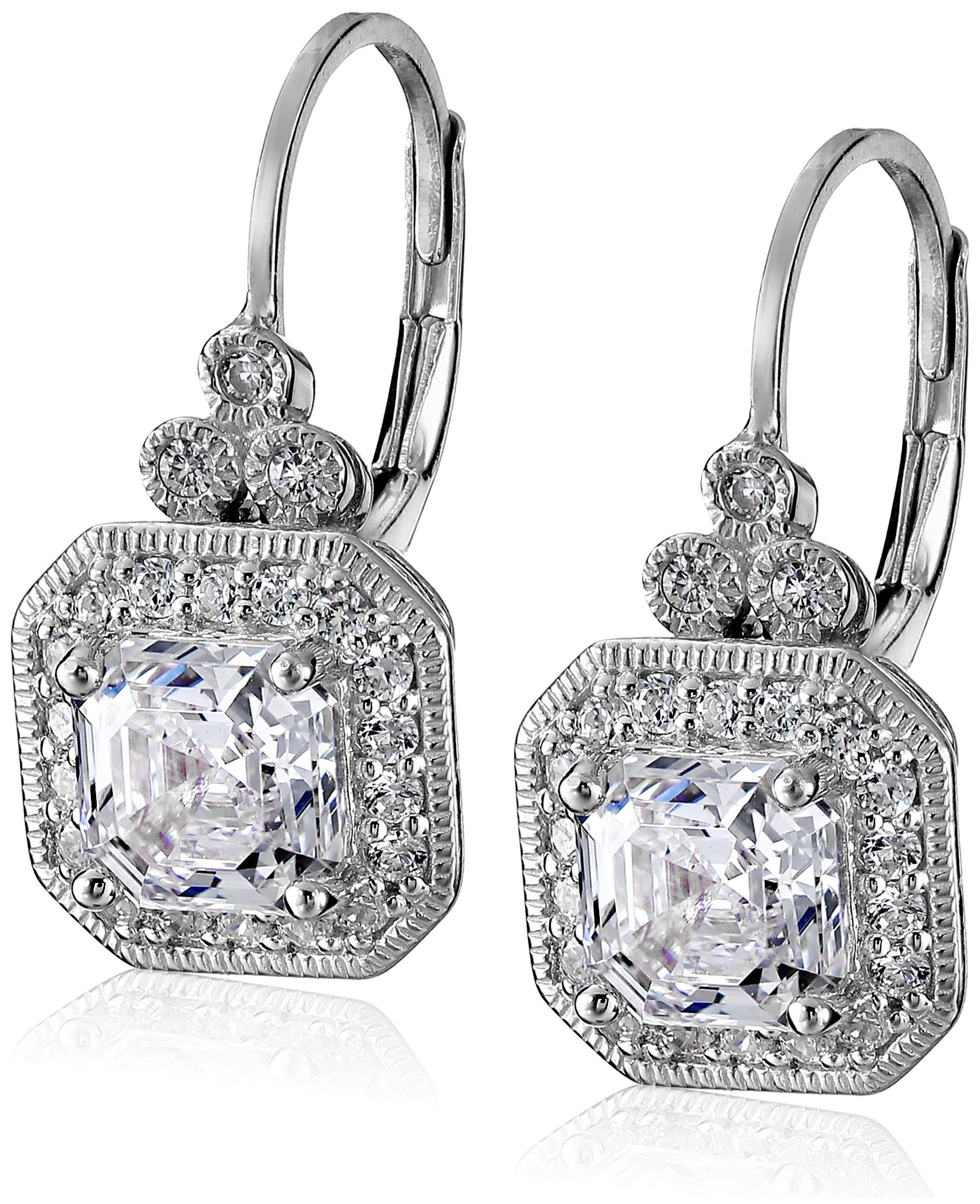 Platinum Plated Sterling Silver Antique Drop Earrings set with Asscher Cut Swarovski Zirconia by Amazon Collection