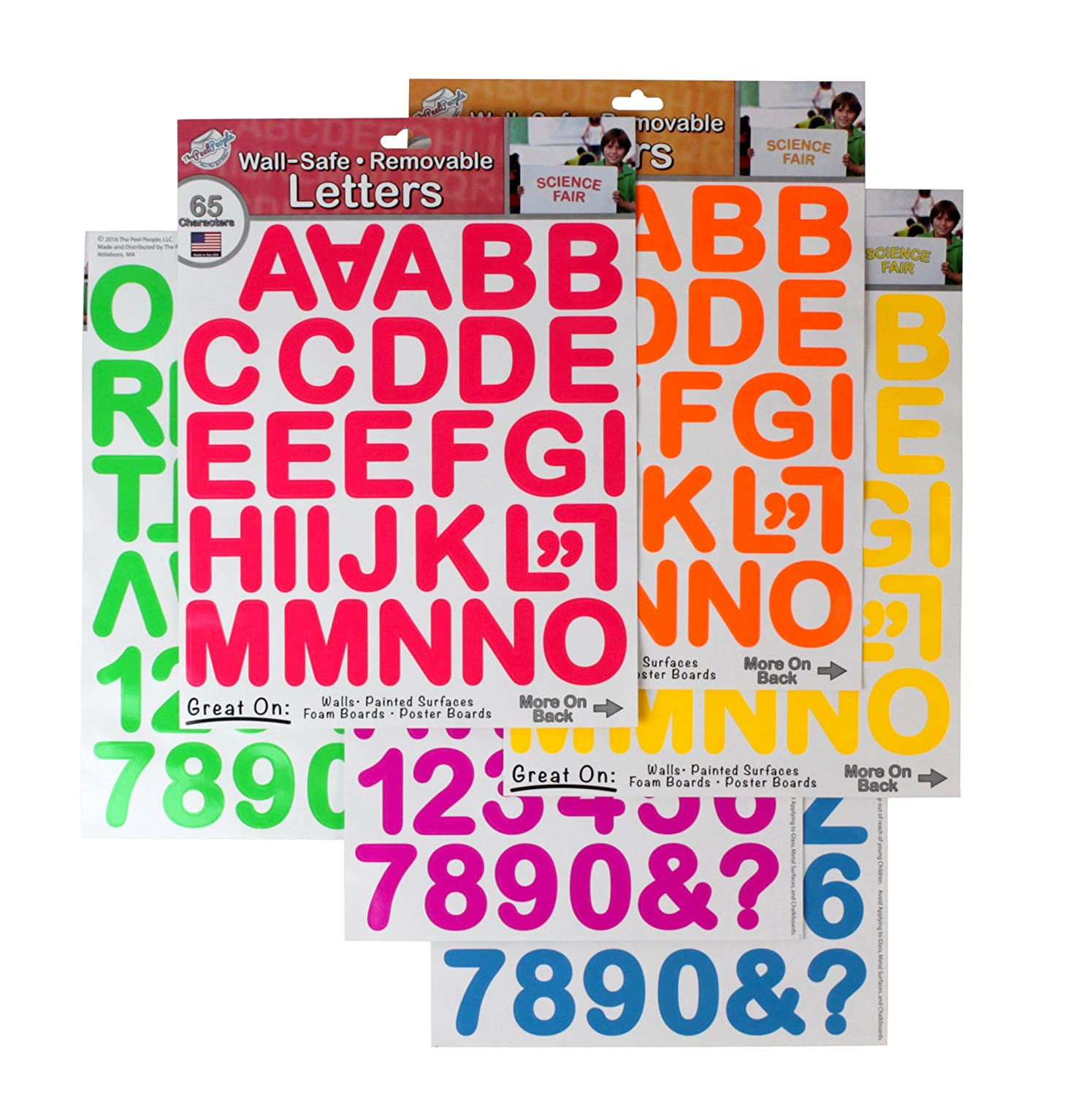 THE PEEL PEOPLE Wall-Safe Removable Letters & Numbers - Neon (390 Total Stickers)