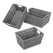 Whitmor Rattique Storage Baskets - Grey (3 Piece Set)