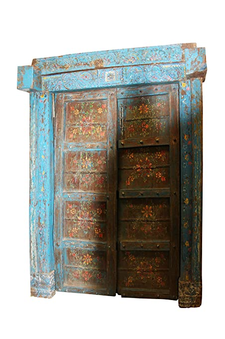 Mogul Interior Antique Indian Double Doors Haveli Floral Painted Distressed  Blue Floral Indian Teak - Amazon.com: Mogul Interior Antique Indian Double Doors Haveli Floral