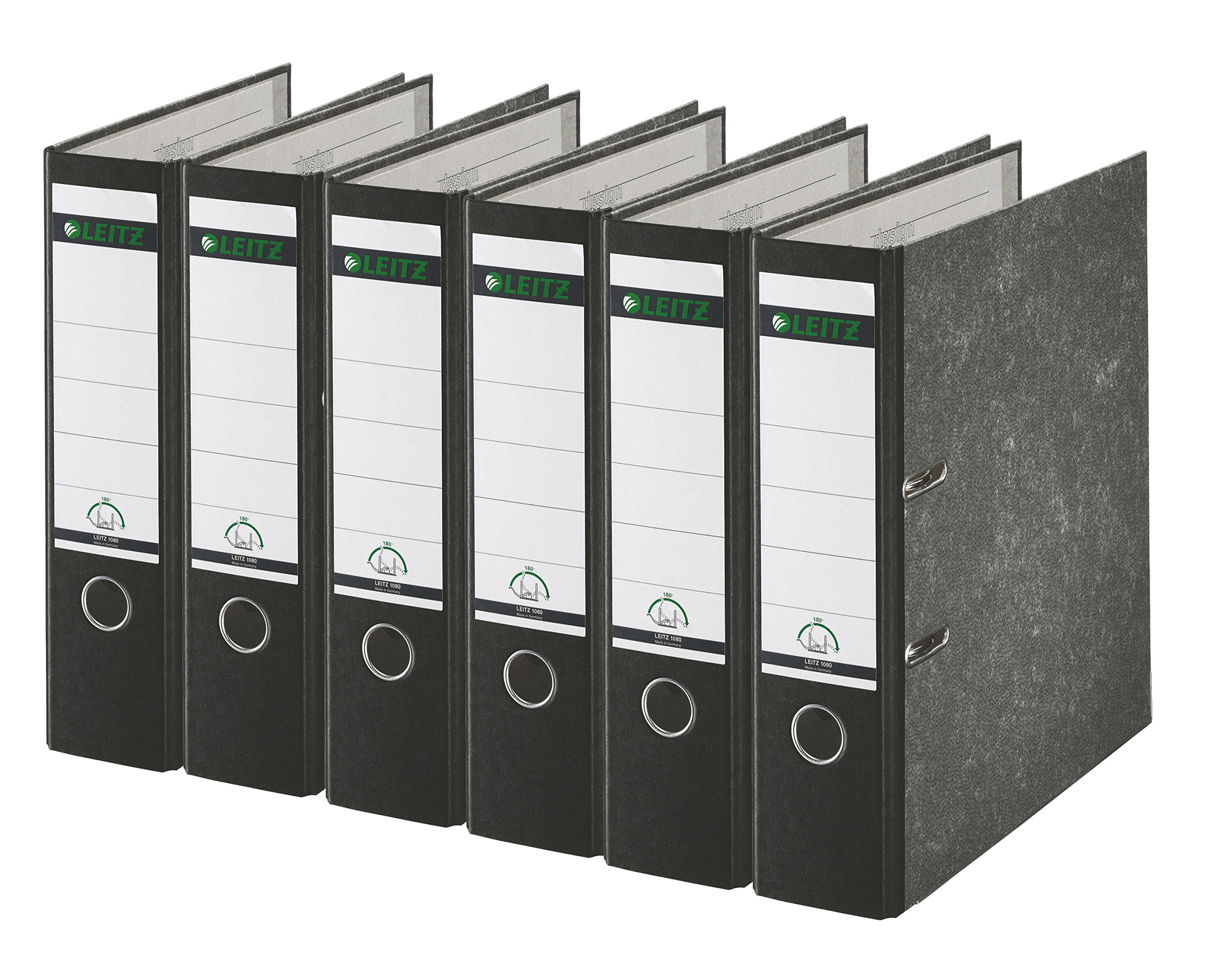 Leitz 2-Ring 3-Inch Premium A4 Sized European Binders 6-Pack, Black (R80PACK)