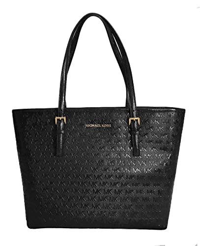 733a0b11ffe1 Amazon.com: Details about MICHAEL KORS JET SET TRAVEL MEDIUM CARRYALL TOTE  BLACK EMBOSSED PATENT LEATHER: Shoes