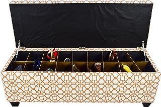 "product image for MJL Furniture Designs Medium Upholstered Storage Button Tufted Ottoman, 50"" x 17"" x 20"", Orange Sunset"