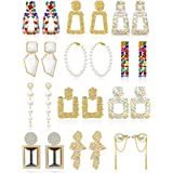 12 Pairs Rhinestone Crystal Rectangle Earrings Glass Square Geometric Earrings Long Bohemian Faux Pearls Earrings Geometric S