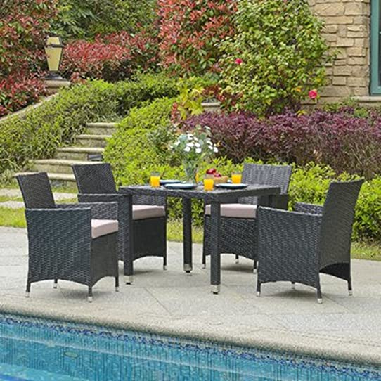 Blue Bay Leilani 5 Piece Wicker Patio Furniture Dining Set With Cushions.  Garden Wicker Patio