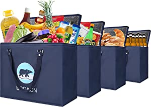 Insulated Grocery Bags for Food Transport, Thermal Bag for Hot Cold Meal, Cooler Bag for Shopping, Delivery, 4 Pack Large, Navy Blue Bear