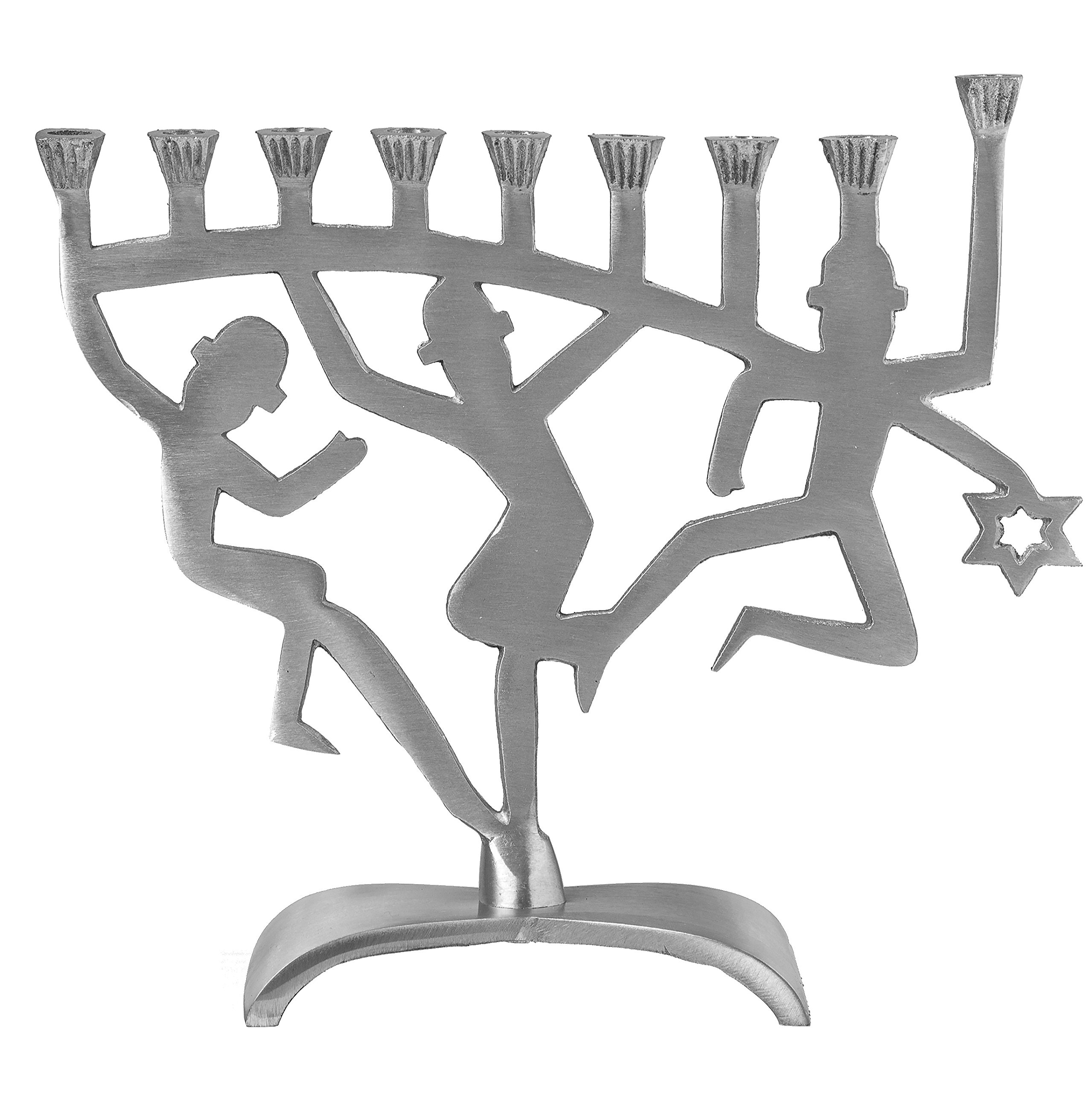 Ner Mitzvah Artistic Aluminum Candle Menorah - Fits All Standard Chanukah Candles - Dancing Lights Figurines Design