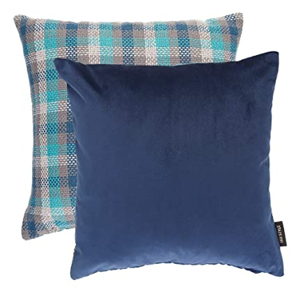 Navy Blue Decorative Pillows Pack of 2, Plush Solid Soft Velvet and Tartan  Plaid Checkered Linen Throw Square Accent Pillow Covers Cases for Couch Bed