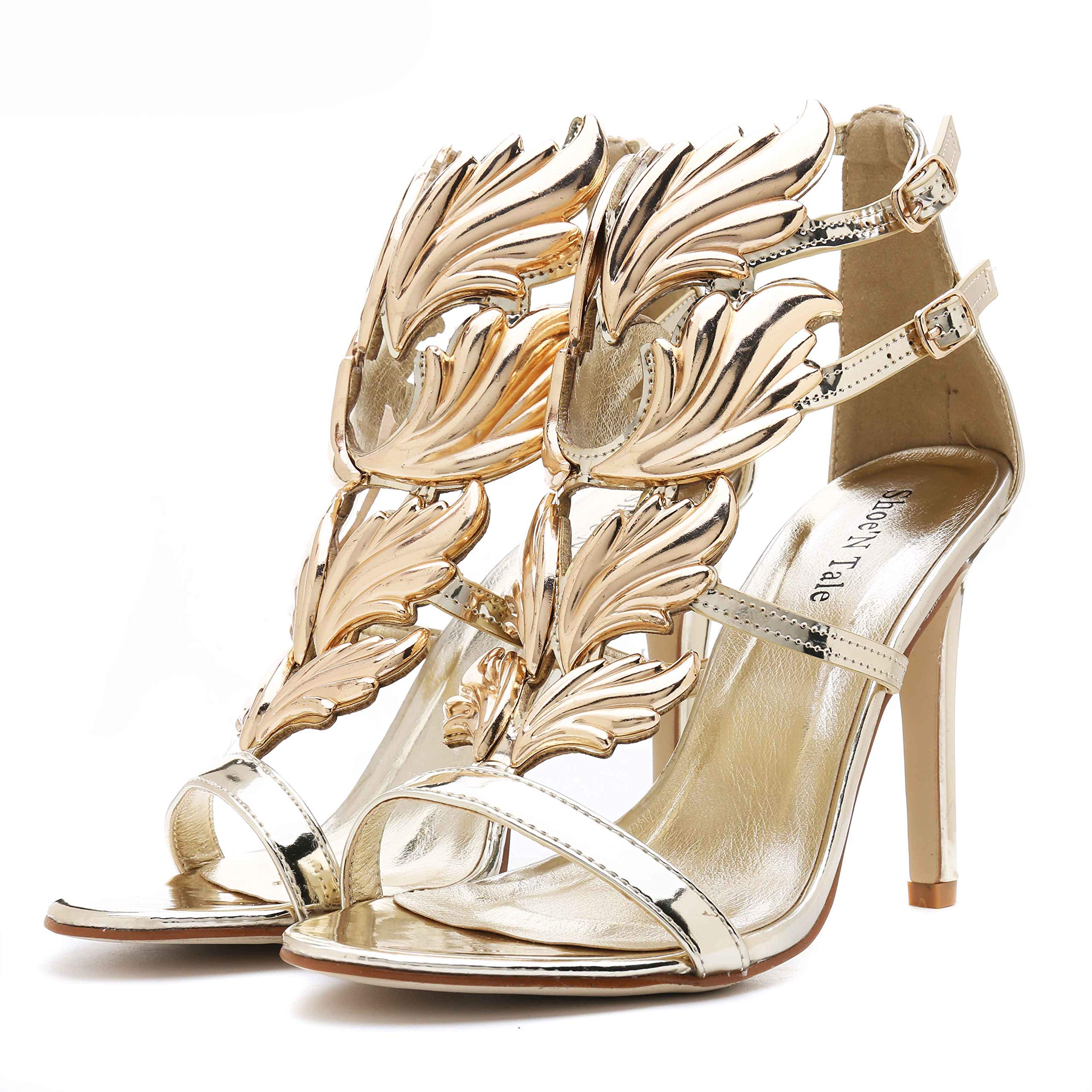 Shoe'N Tale Women's High Heel Gladiator Sandals Gold Flame Party Dress Stiletto Shoes