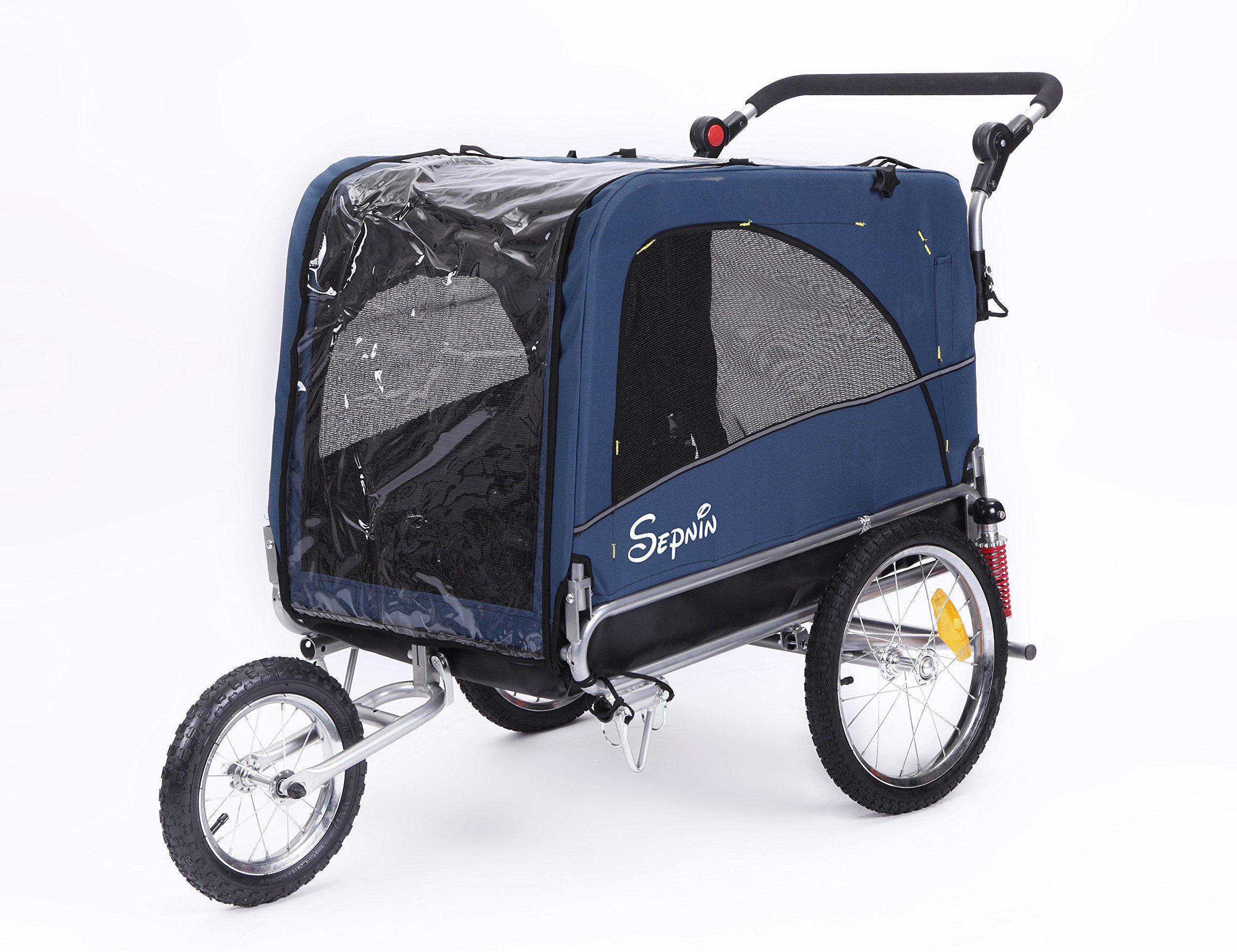 Sepnine & Leonpets Dog cart of 3 in 1 Luxury Large Sized Bike Trailer Bicycle Pet Trailer/Jogger/Dog Cage with Suspension 10308 (Blue/Black) by Sepnine