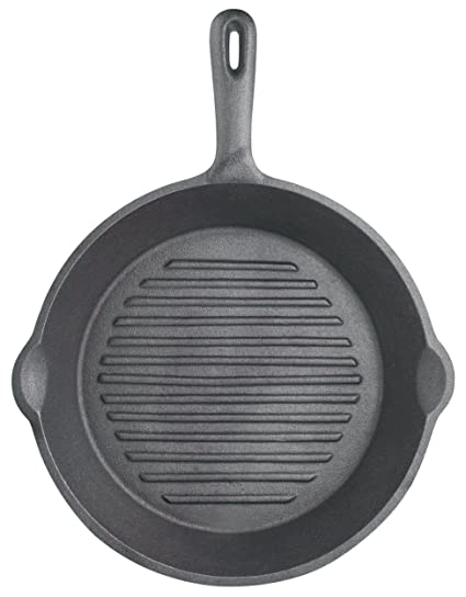 Kitchen Craft KCCIRD Clearview - Sartén parrilla redonda de hierro fundido (24 cm)
