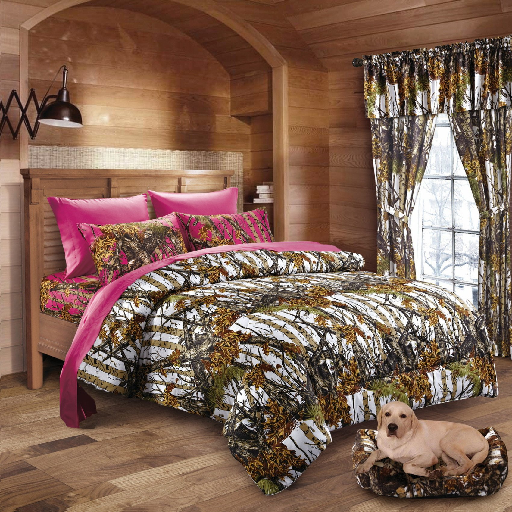 20 Lakes Hunter Camo Comforter, Sheet, Pillowcase Set White & Hot Pink (Twin, White & Hot Pink)