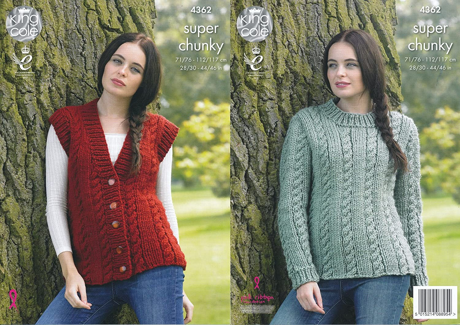 King Cole Ladies Big Value Super Chunky Knitting Pattern Cable Knit Sweater & Waistcoat (4362)