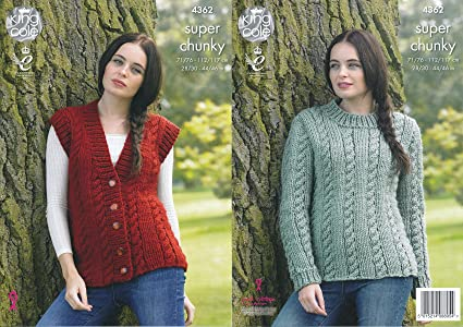 feb3f7463 Image Unavailable. Image not available for. Color  King Cole Ladies Big  Value Super Chunky Knitting Pattern Cable Knit Sweater ...