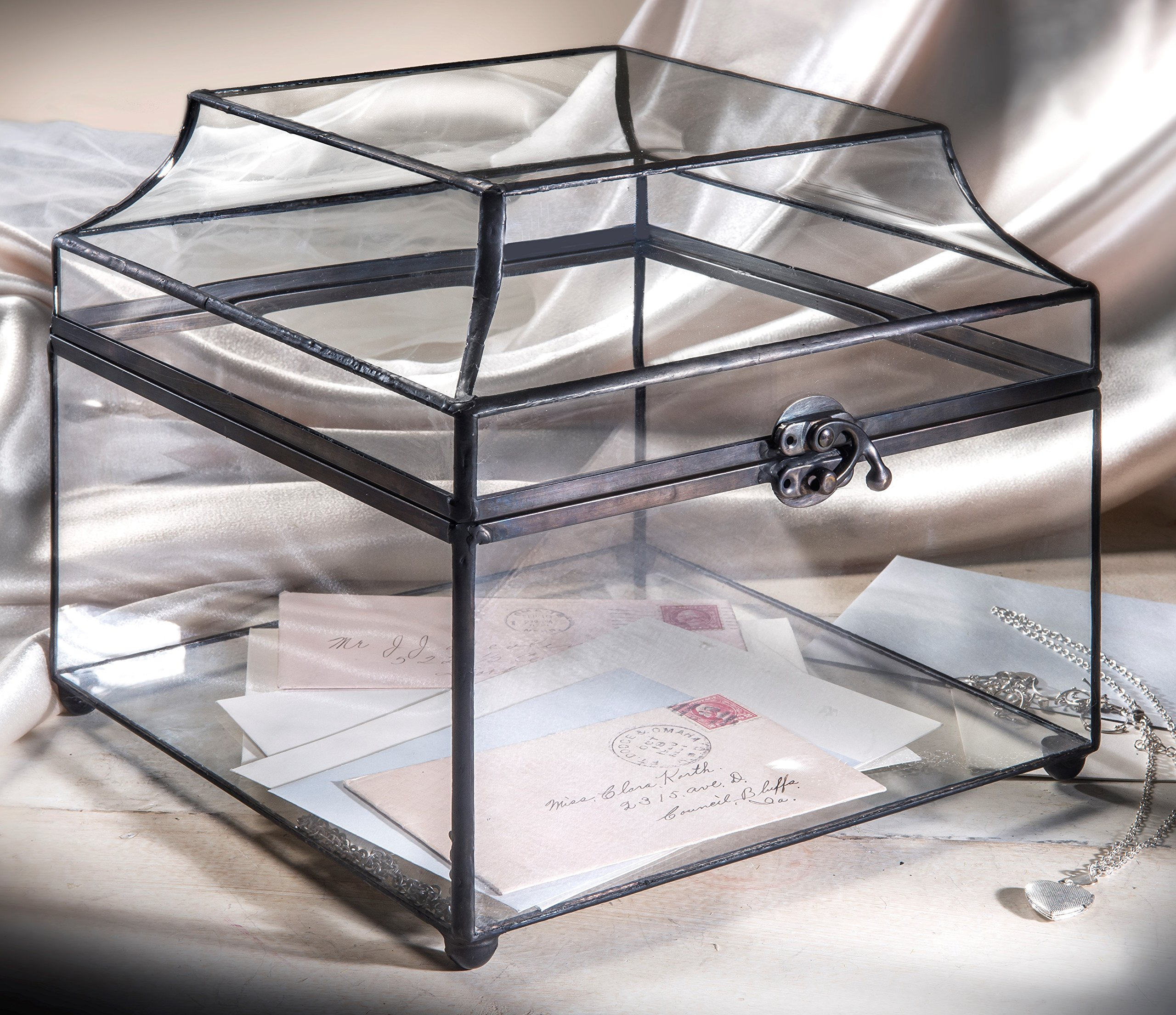 J. Devlin Box 600 Large Clear Glass Box Wedding Card Holder Reception Card Box Keepsake Display Case Decorative Home Decor