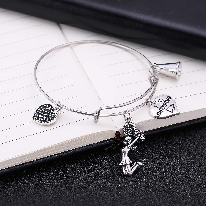 fishhook Cheerleader Bracelet Cheerleading Dance Girl Heart Pendant Bracelet Stainless Steel DIY Wire Bangle Bracelet Ideal Gift for Women Girls Cheer Squad