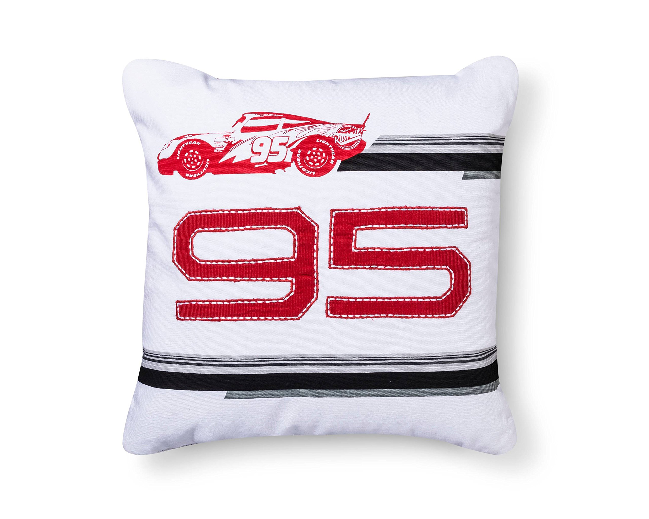 Disney Cars Lightning McQueen 95 White Throw Pillow (16''x16'') by Cars Lightning McQueen 95