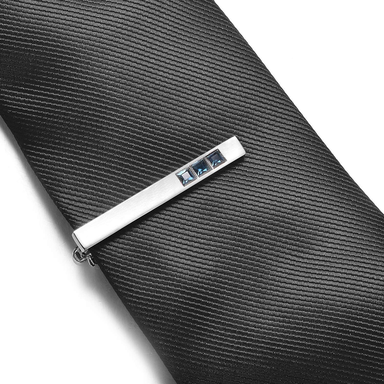 Yoursfs Tie Clip for Men Business Style Simple Necktie Metal Clasp Clip Gentleman Tie Bar Crystal Tie Pin Chain
