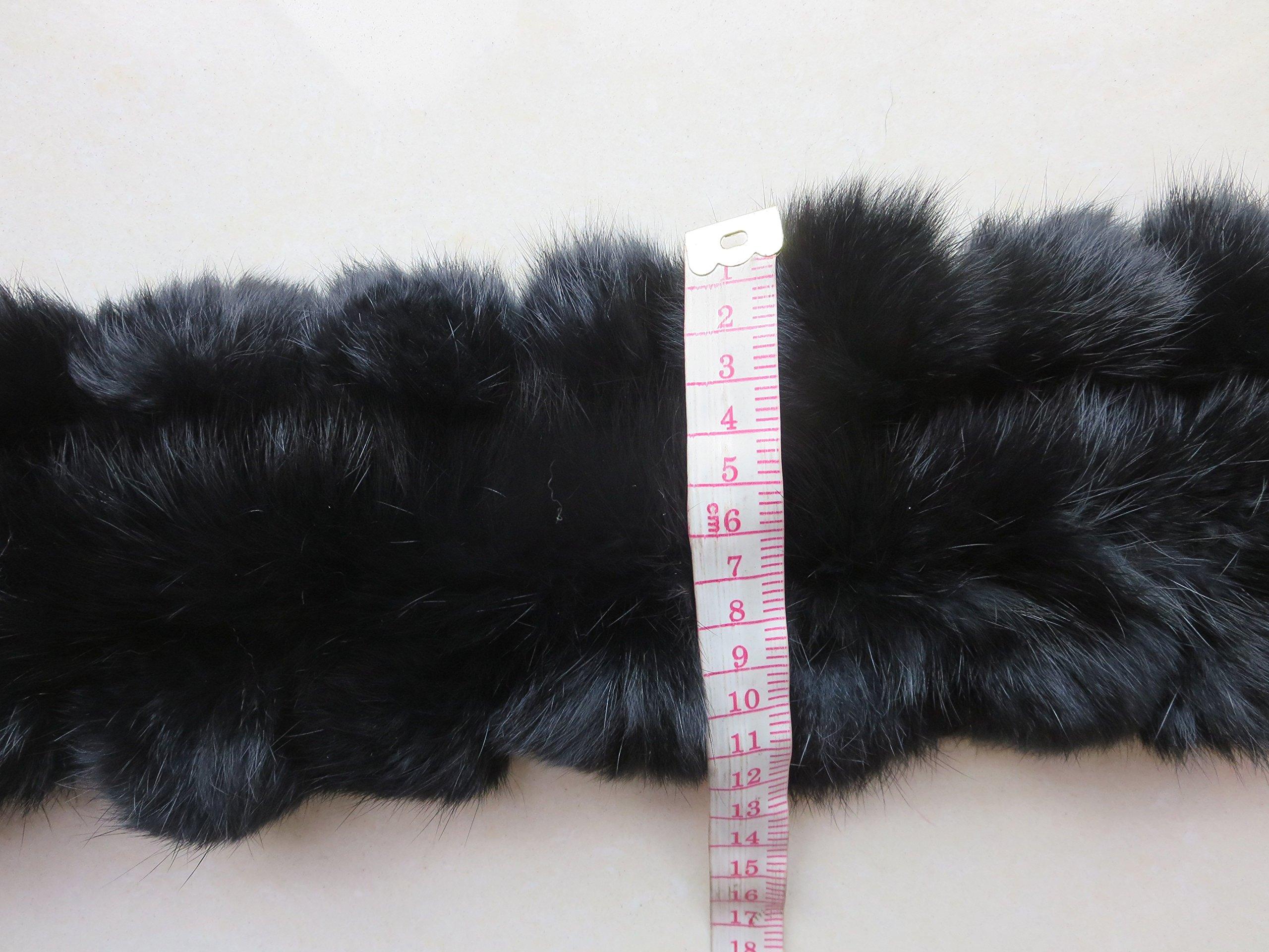 Real Rabbit Fur Scarf Warm Protect the Cervical Spine (black)