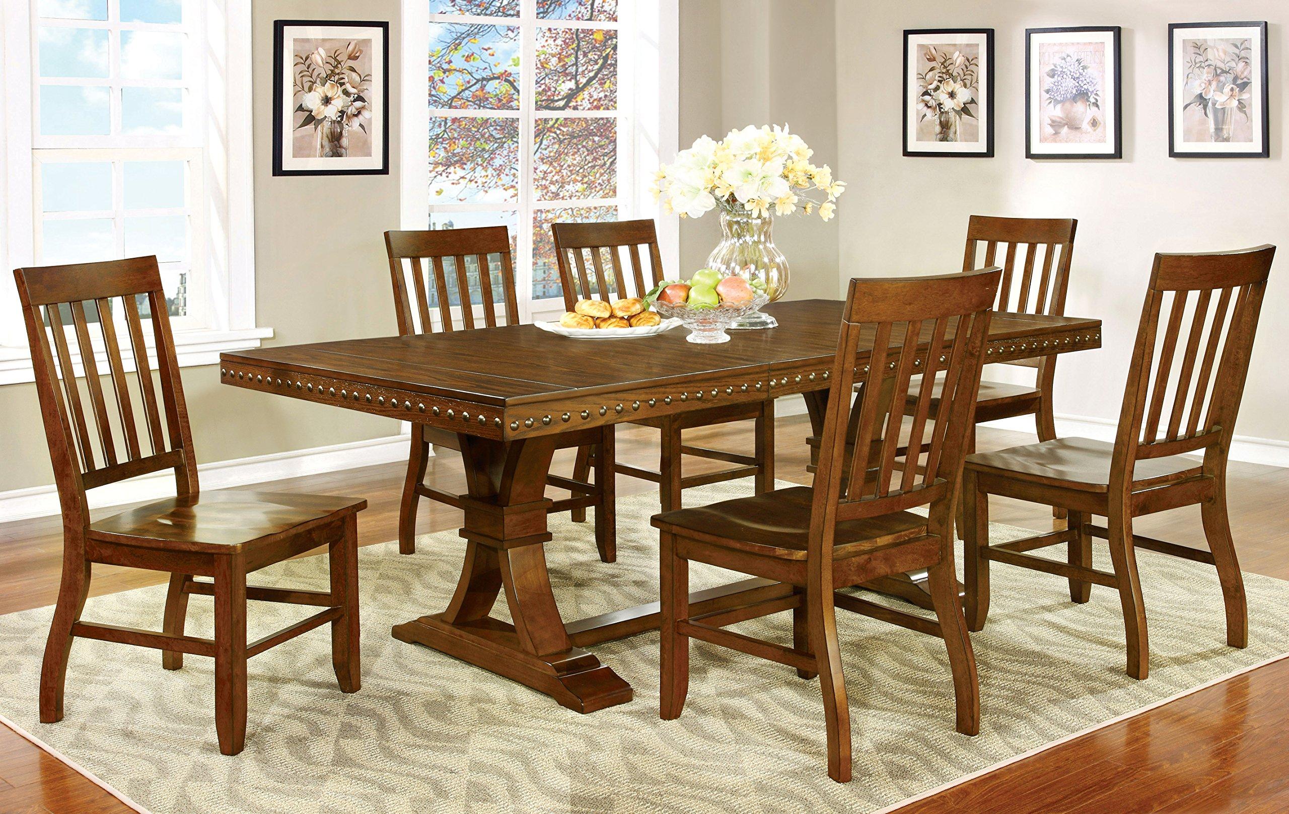 Furniture of America Castile 7-Piece Transitional Dining Set, Dark Oak by Furniture of America