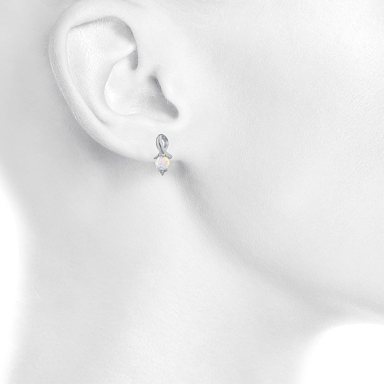 Natural Mercury Mist Mystic Topaz /& Diamond Round Design Stud Earrings 14Kt White Gold /& Sterling Silver