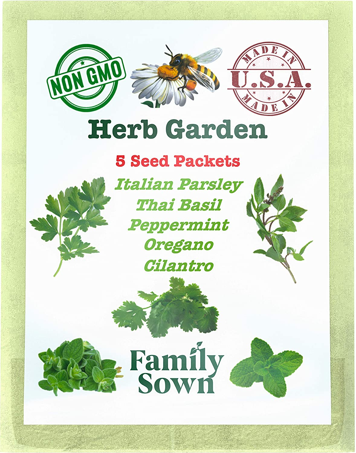 Herb Garden Seeds Variety Pack for Planting Indoor and/or Outdoor herb Gardens. Parsley Seeds, Cilantro Seeds, Peppermint Seeds, Basil Seeds and Oregano Seeds. Herb Seed Set for Kitchen herb Gardens