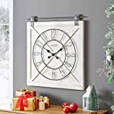 """FirsTime & Co. Farmstead Barn Door Wall Clock, 29""""H x 27""""W, Whitewash, Metallic Gray, Black"""